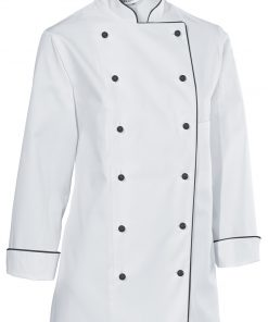 Dámsky kuchársky rondón Premium Chef dlhý rukáv s lemom