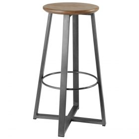 Barová stolička Metalio s dreveným sedákom