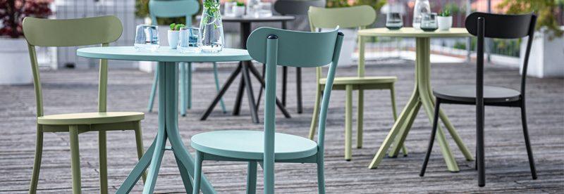 terasový nábytok, bistro terasova stolička, farebné terasové stoličky